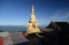 The golden buddha on Emeishan Stock Photo