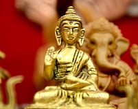 Golden Buddha. Empty minds might be devil& x27;s work shop. But Pureness and Peace are God& x27;s residence Royalty Free Stock Photo