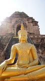 Golden buddha in front of ruins temple, Thailand Stock Photography