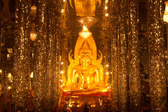 Golden buddha in glass church . Royalty Free Stock Photos