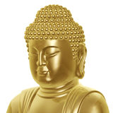 Golden Buddha head. A golden Buddha head isolated on white background Stock Photo