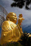 Golden Buddha holding the golden lotus up angle Royalty Free Stock Image