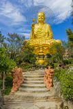 Golden Buddha holding the golden lotus. Dalat Vietnam Van Hanh Pagoda, A Large Statue Of Golden Buddha Royalty Free Stock Photography