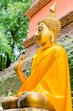 Golden Buddha Image on ancient Brick Pagond, TH. Royalty Free Stock Photos