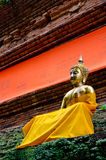 Golden Buddha Image on ancient Brick Pagond, TH. Royalty Free Stock Photography