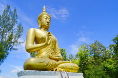 Golden Buddha Image on ancient Pagond, TH. Royalty Free Stock Photography