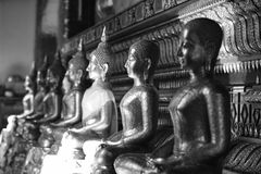The golden Buddha image. Reverence in Buddhist sutras At Wat Luang Pothit, Thailand Stock Images