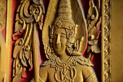 The golden Buddha image. Reverence in Buddhist sutras At Wat Luang Pothit, Thailand Royalty Free Stock Photos