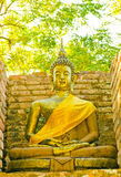 Golden buddha image in the temple at Chiangmai. Stock Photos
