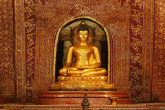 Golden Buddha Image at Wat Pra Sing Temple Stock Image
