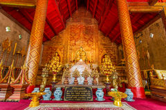 Golden Buddha Image at Wat Pra Sing Royalty Free Stock Photography