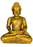 Golden Buddha. In lotus position stock photography