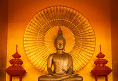 Golden buddha meditation. With gold color background Stock Images