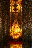 Golden Buddha in the Mirror Chapel Royalty Free Stock Images