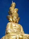 The golden buddha of mt emei. The golden buddha on the top of mount Emei in sichuan, China stock image