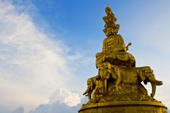 Golden Buddha at Mt. Emei. Golden Buddha is the highest in the world located in Mt. Emei in sichuan province in china Royalty Free Stock Photos
