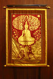 Golden Buddha paint on Cloth Royalty Free Stock Image