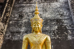 Golden Buddha Portrait, Wat Chedi Luang, Thailand Royalty Free Stock Photography