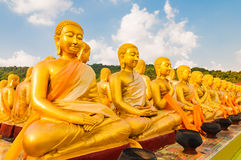 Golden Buddha's disciples  at Buddha Memorial park Royalty Free Stock Images