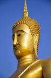 Golden Buddha soaring into blue sky Stock Images