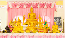 Golden buddha set in the Thailand temple. Royalty Free Stock Photography