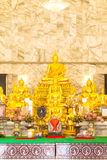 Golden buddha set in the Thailand temple Stock Photography