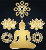 Golden stickers Buddhism and silhouette buddha. Golden Buddha silhouette and lotuses with mandalas - Buddhism religion, beautiful sketch stock illustration