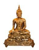 Golden buddha sitting. Isolate statue stock photography