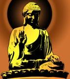 Golden Buddha Sitting Illustration on Sunset Royalty Free Stock Photo