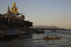 Golden Buddha at Sop Ruak Royalty Free Stock Photography