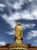 a golden Buddha standing tall on the lotus royalty free stock photos
