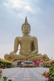 Golden buddha statue. Big golden buddha statue at Thailand Royalty Free Stock Photography