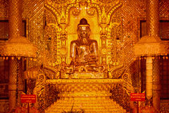 Golden Buddha Statue in Botataung paya Pagoda in Rangoon, Myanma Royalty Free Stock Photography