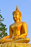 Golden Buddha statue in a Buddhist temple Royalty Free Stock Image