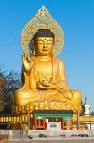 Golden Buddha statue at buddhist temple of Sanbanggulsa Stock Photos