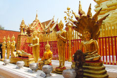 Golden Buddha statue in Buddhist temple royalty free stock photos