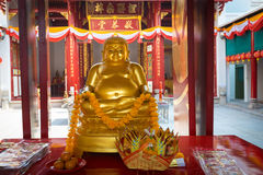 Golden Buddha Statue at Canton Shrine in Bangkok, Thailand Royalty Free Stock Photography