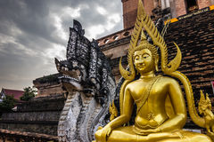 Golden Buddha Statue in Chiang Mai, Thailand Royalty Free Stock Images