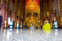 Golden buddha statue in Chiangmai, Thailand, Wat Baan Den Stock Photo