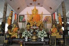 Golden buddha statue. Generally in Thailand any kind of art decoreted in buddhist church or temple area etc. created with donated by people to hire artist they stock photo