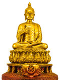 Golden buddha statue. Isolated on white background Stock Photos