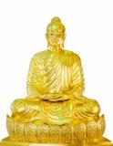 Golden buddha statue. Isolated on white background Royalty Free Stock Photo