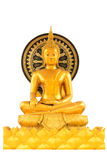 Golden buddha statue isolated on white background Royalty Free Stock Images