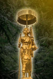 Golden buddha statue in Journey posture. Finding peace and evange Royalty Free Stock Photo