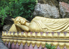 Golden Buddha statue in Laos Royalty Free Stock Photography