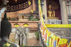 Golden buddha statue  in  old pagoda Stock Photos