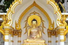 Golden buddha statue in plastic wrapped Royalty Free Stock Photo