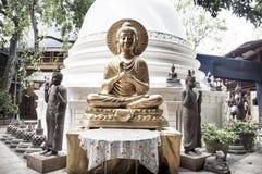 GOLDEN BUDDHA STATUE IN SIR LANKA TEMPLE Royalty Free Stock Photo