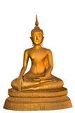 Golden Buddha statue sitting isolated on white background Royalty Free Stock Images
