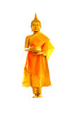 Golden buddha statue. Standing isolated white background Royalty Free Stock Photography